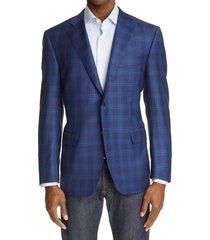 men's big & tall canali sienna soft plaid wool sport coat, size 50 us - blue