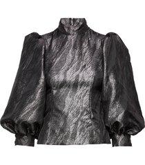 jacquard blouse lange mouwen zwart ganni