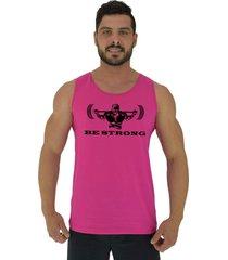 regata clã¡ssica masculina alto conceito be strong rosa beb㪠- rosa - masculino - algodã£o - dafiti