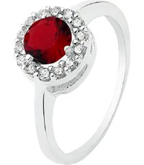 anel prata rara princesa redondo jade vermelha