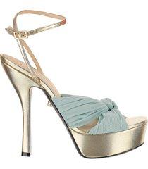 alevi designer shoes, eleonor blue braided band & laminated gold leather high heel platform sandals
