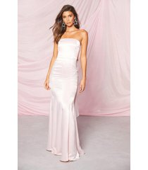 occasion satin bow back maxi dress, soft pink