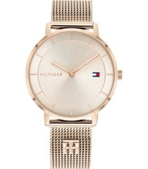tommy hilfiger women's carnation gold-tone stainless steel mesh bracelet watch 35mm