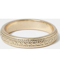 river island mens gold colour engraved ring
