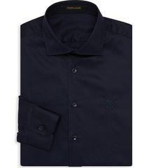 roberto cavalli men's logo embroidered dress shirt - navy - size 16 41