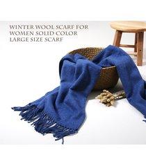 lyza 200cm sciarpa e tappetino di lana in tinta unita a grande taglia