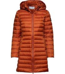 coated zip light dow gevoerde lange jas oranje calvin klein