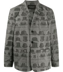 viktor & rolf hat print single breasted blazer - grey