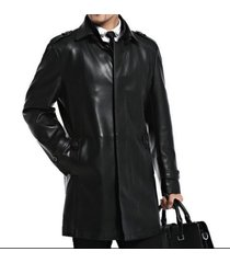 mens leather trench  long coats outwear jackets  overcoat slim fit luxury-cgn-01