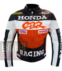 honda cbr orange leather motorcycle motorbike biker armour racing jacket coat