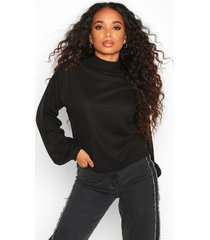 petite knitted rib extreme volume sleeve top, black