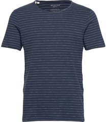 slhmorgan stripe ss o-neck tee w t-shirts short-sleeved blå selected homme