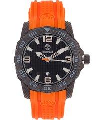 reloj naranja-negro mate timberland