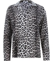 camisa estampado piel color negro, talla 10