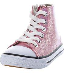 zapatilla caña brillo rosado corona