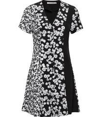 floral blocking ss korte jurk zwart calvin klein jeans