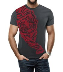 heads or tails men's hunting tiger graphic printed rhinestone studded t-shirt
