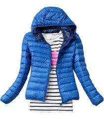 autumn jacket female slim zipper hooded cotton coats casual  winter jackets blue