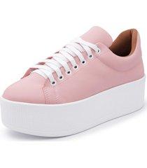sapatenis feminino top franca shoes sola alta rosa