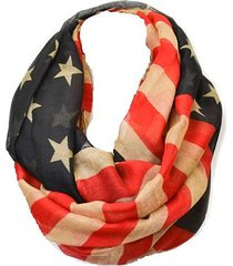 women soft casual red blue white usa flag pattern vintage infinity scarf