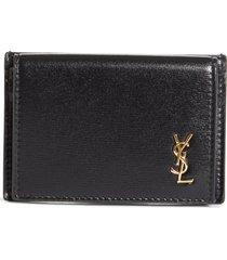 women's saint laurent monogram flap leather card case - black