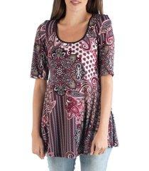 24seven comfort apparel paisley elbow sleeve swing top