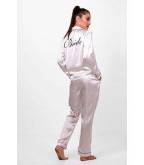 satijnen bride pyjama set, ivoor