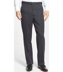 men's berle self sizer waist flat front classic fit wool gabardine trousers, size 32 x unhemmed - black