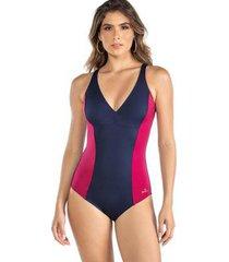maiô liso hidro bicolor modelador zero barriga feminino - feminino