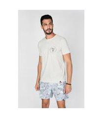 t-shirt malha linho off white off-white