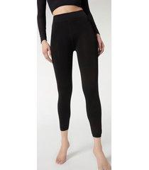calzedonia thermal plush leggings woman black size 3/4