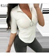 mujer cuello bajo con cremallera cuello casual camisa elástica delgada tops blusa club party jumper -blanco
