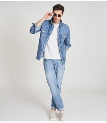 reiss brown - four pocket denim jacket in light wash denim, mens, size xxl