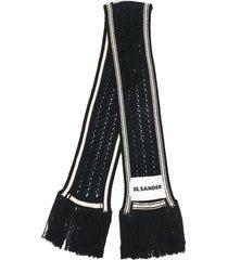 jil sander fringed knit scarf - black