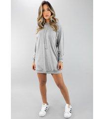vestido rb moda camisã£o manga longa moletinho cinza - cinza - feminino - dafiti