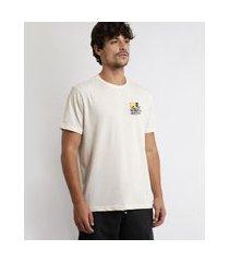 "camiseta masculina waikiki"" com linho manga curta gola careca off white"""