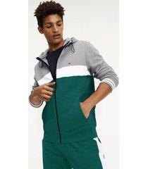 tommy hilfiger men's colorblock zip hoodie cloud heather grey / green - xs