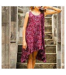 rayon batik dress, 'wine floral' (indonesia)