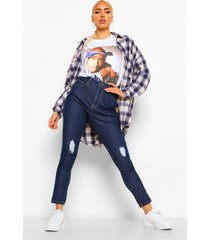 distressed skinny jeans met hoge taille, indigo