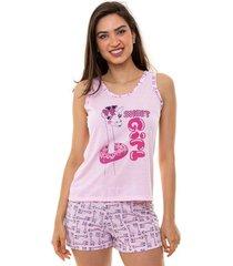 pijama short doll regata girafa feminino adulto