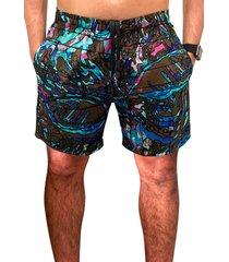 shorts  praia ks floral azul microfibra com bolsos  laterais ref.386a.12