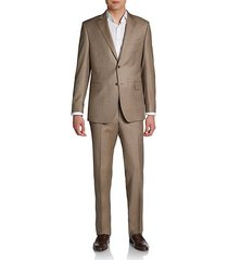 slim-fit sharkskin wool two-button suit