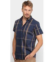 camisa acostamento listras manga curta masculina