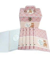 album beb㪠15x21 maleta primeiro ano rosa 240 fts - branco - feminino - dafiti