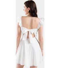 aaron ruffled sleeve mini dress - white