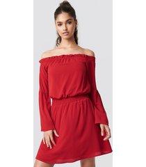 na-kd boho wide sleeve off shoulder dress - red