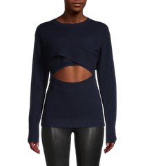 iro women's cutout merino wool & cashmere-blend top - dark blue - size xs