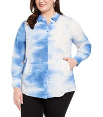 alfani plus size tied-dyed oversized blouse, created for macy's