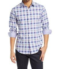 men's bugatchi classic fit stretch plaid button-up shirt, size xx-large - purple