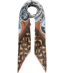 burberry rigging and monogram print silk large square scarf - brown